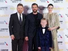 Sir Kenneth Branagh, left to right, Jamie Dornan, Jude Hill and Caitriona Balfe at the film's premiere (Ian West/PA)