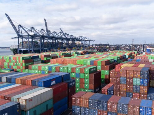 Thousands of shipping containers at the Port of Felixstowe in Suffolk (Joe Giddens/PA)