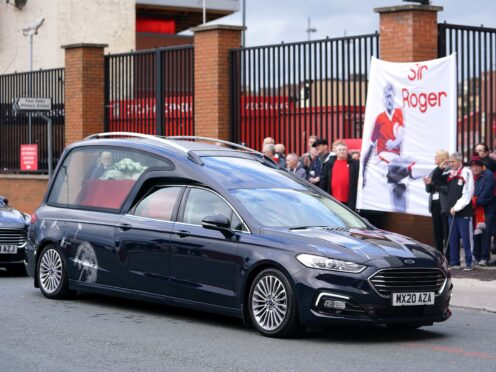 Sir Geoff Hurst and Kevin Keegan were among those who paid tributes to former Liverpool striker Roger Hunt at his funeral (Mike Egerton/PA)