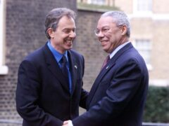 Tony Blair (left), then Prime Minister, greeting US Secretary of State Colin Powell outside 10 Downing Street in 2001 (Sean Dempsey/PA)