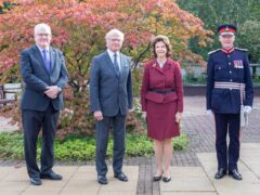 The King and Queen of Sweden (centre) visited the university (University of Stirling/PA)