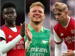 Bukayo Saka, Aaron Ramsdale and Emile Smith Rowe, l-r, help Arsenal dominate gameweek eight's picks (Tim Goode/Nick Potts/John Walton/PA)