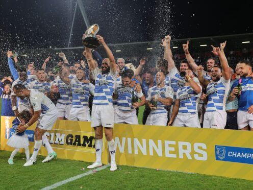 Toulouse celebrate victory in the Million Pound Game (Toulouse Handout/PA).