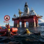 Greenpeace activists in kayaks protest Arctic drilling plans