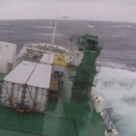 Stomach churning clip of a ship in a storm
