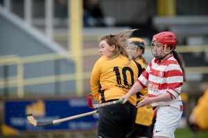 Forts Ashleigh Fraser and Lochabers Hannah Dougan in the weekend match. Abrightside Photography. F06 Ladies Shinty 2no JP