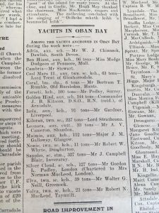 Cailleach: A list of yachts in Oban Bay in 1937
