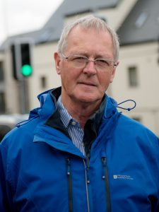 Councillor Allan Henderson at the mini roundabout/T Henderson inverlochy roundabout-1480