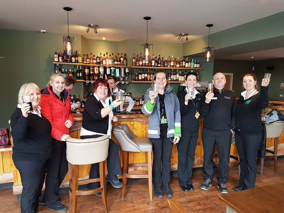 The staff of the Ben Cruachan Inn enjoy a drink in the new bar. t14BenCruachanbuilding02no