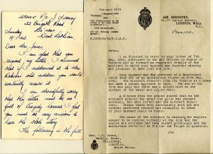 Letters written to Robert's widow Eileen, explaining the circumstances of the seaplane crash off Kerrera on May 29 1942