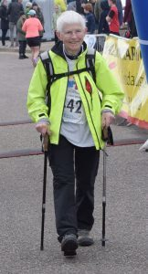Seventy two year old Philippa Dove, from Ardnamurchan was one of the most senior entrants to complete the course. PICTURE IAIN FERGUSON, THE WRITE IMAGE f18 half marathon Philippa dove 1no