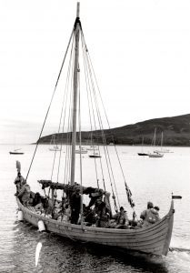 A Viking longship eased itself out of Lamlash Pier last Wednesday, with a crew of 15 Norwegians, heading to Trondheim from the Isle of Man. The longship was constructed as a millennium project and a perfect replica of a slightly larger vessel than the Vikings would of used.