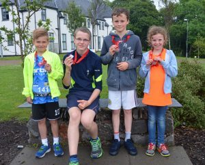 Children took part in the half marathon at the weekend. Picture Sara Bain. F24 Skye half marathon 3no SB