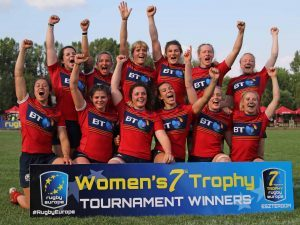 The winning Scotland Women Sevens squad, including local Lochaber player Helen Nelson, celebrate their success in Europe trophy tournament