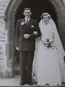 The new Mr and Mrs Shaw on their wedding day in 1957, outside Saint Brendan's church in Skipness. 50_c32diamond03_wedding