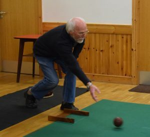 Ken Bryce rolls into action in Tayinloan village hall. 50_c44bowls02