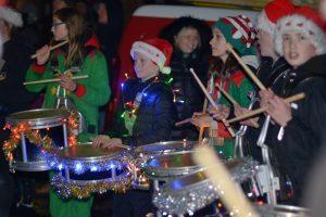 Kintyre Schools Pipe Band drummers.