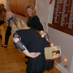 Alison Kerr proves she is a whizz at getting balls from a box.