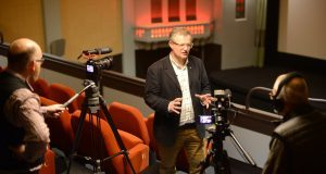Argyll and Bute MP Brendan O'Hara gives an interview in the restored screen one at Campbeltown Picture House.
