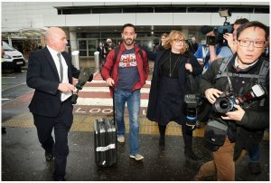 Billy wheels his suitcase through Glasgow Airport. Picture: Daily Record