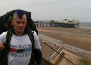 Sam setting off from Blackpool in May. NO_c49samdoyle03