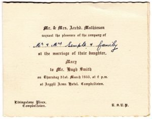 An invitation to Mary Smith's wedding.