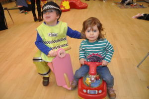 Brother and sister Aiden and Faye Johnston at the friday Toy Cupboard session.