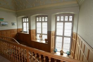 Achamore House's bannister and staircase.