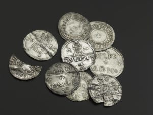 On January 7, 1891, two silver coins were found on the shore near Storr Rock on the Isle of Skye. Further investigation found a hoard consisting of 108 coins and 23 broken pieces of silver. The hoard was probably deposited about the middle of the 10th century.