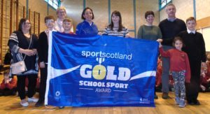 At the awards from left: Gillian McMillan, Ryan Shields, Lorna Jackson from Sportscotland, Dylan Arkell, Lindsay Ramsay - Active Schools Mrs McSporran, Emma Woods, Barry Colville, Niamh McSporran and Calum Ellis. 25_c17dalintober01