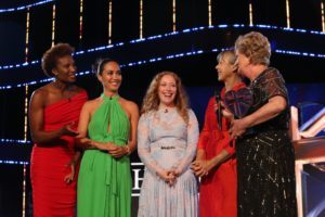 Hero midwife Betty MacIntyre with Jenny Agutter, Denise Lewis, Myleene Klass and Victoria Yeates on stage at the NHS Heroes Awards THE NHS HEROES AWARDS