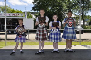 Highland dance winners, left to right: Kari McMillan, 6, from Campbeltown, and Rachael Steward, 11, from North Connel both won Beginners Trophies in their age groups, while Sophie Galbraith, 8, and Tiffany Norris, 11, both from Campbeltown, took the Novice Trophies.
