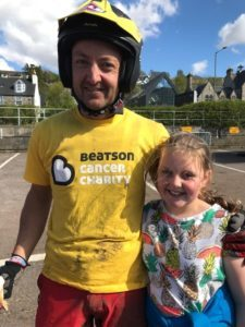 George Gage and his daughter Olivia at the end of his first motorbike trial.