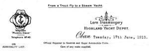 John Munro, Lorn Ironmongery, Oban, letterhead 1913. Photographs: Iain Thornber