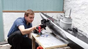 Student Lewis Owen made the U-boat model 1/28 to scale.