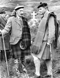 Donald Hamish Cameron of Lochiel and Archibald MacKellaig, Glenfinnan, at the unveiling of the cairn to Frances Cameron-Head of Inverailort in 1958. Photograph: Scottish Field Picture Agency