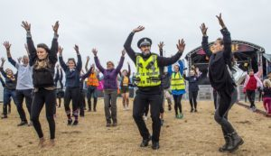 PC Graeme Greenlaw joins in with the flashdance at the Tiree Music Festival 2018.  Photograph: Alan Peebles