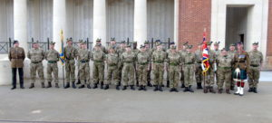 Cadets and adults from 1 Highlanders ACF at the Menin Gate. NO F32 Natasha Gregor 01