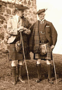Alexander 16th Chief of Ardgour (left) with Sir Fitzroy Maclean, 27th Chief of the Clan Maclean at Duart in 1912. Photograph: Iain Thornber