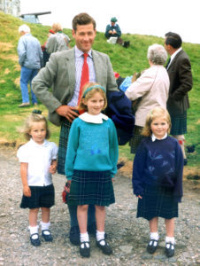 Robin Maclean, 18th chief of Ardgour, grandson of Alexander and Muriel Maclean of Ardgour, with his daughters, Helen, Sarah and Miranda at the 1992 Clan Maclean Gathering at Duart, 80 years after his grandfather met his captor there in 1912. Photograph: Iain Thornber