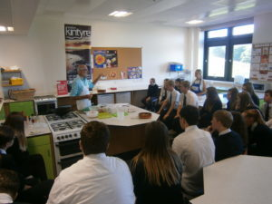 Johnny Beveridge held a workshop and cooking display for more than 20 hospitality students.