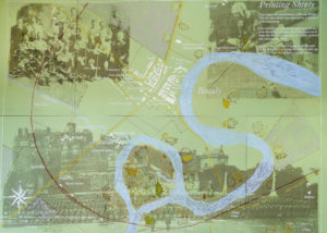 Lino-cut and screen print map of Beauly Shinty by Tom Smith.