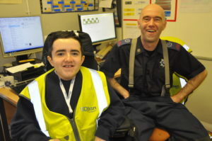Cameron is 'one of the team' with Oban Airport crew member Paul MacKay. 16_T41_CameronAllen04