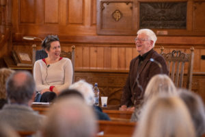 Poet Ciara MacLaverty shares a joke with father Bernard MacLaverty the writer.