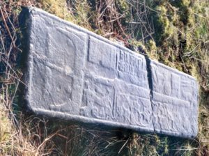 One of many old gravestones on Mull dominated by a sword. Photograph: Iain Thornber