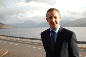 Transport minister Michael Matheson in Inveraray by Loch Fyne.