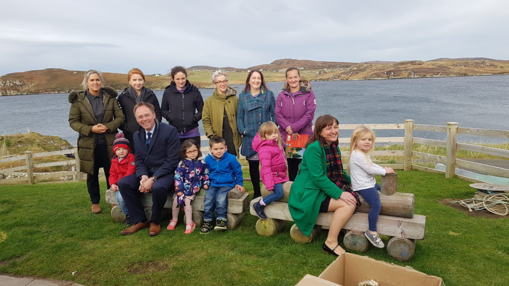 Alasdair Allan MSP and Maree Todd MSP with children and staff from the Pairc Playgroup. NO_T45_Pairc Playgroup01