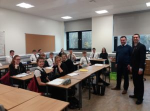 Councillor Alastair Redman, right, spoke to the modern studies class at Oban High School.