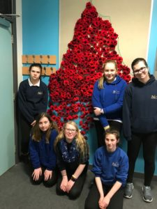 Nicolson Institute pupils with the completed poppy display. NO F01 Nicholson