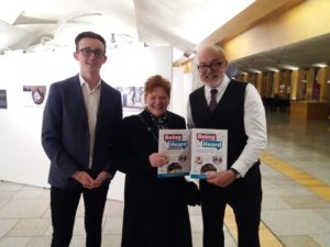 Being Heard authors John Ross Scott, right, and Kristopher Leask with Highland Council leader Margaret Davidson. NO F02 Being Heard authors 01